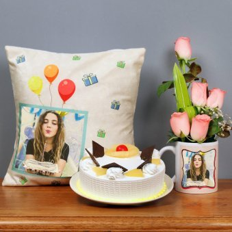 One Personalised Ceramic Mug Personalised Cushion with 5 Pink Roses and 500gm Pineapple Cake