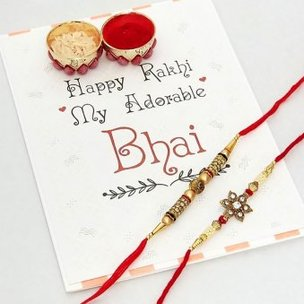 Rakhi Duo With Greeting Card - Set of 2 Designer Rakhis and Greeting Card for Brother with Roli Chawal