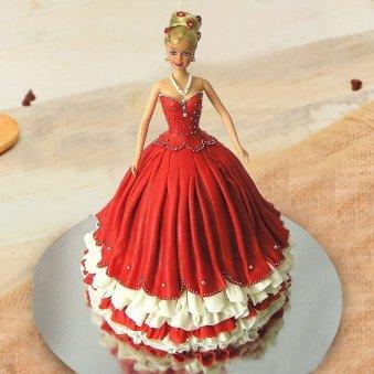 Red Barbie Fondant Cake