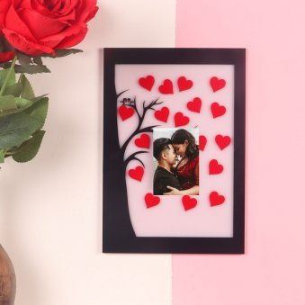 Red Hearts Love Birds Photo Frame