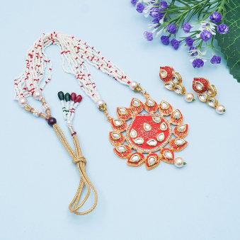 Red N White Beaded Jewellery Set