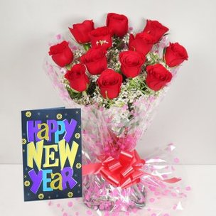 Red Roses and New Year Card Combo