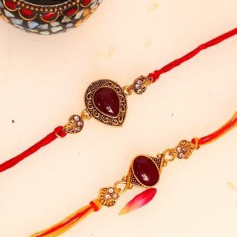 Red Stone Rakhi Set