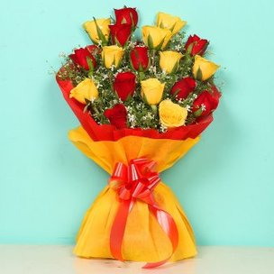 RedShine Bouquet - Bunch of 18 Red and Yellow Roses