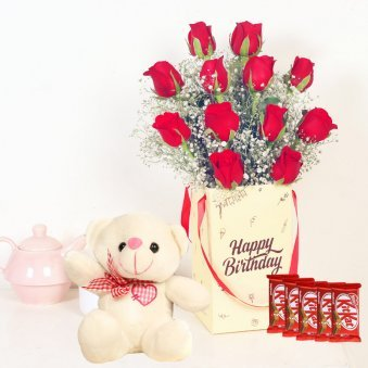Rose Box With Kitkat N Teddy - Bunch of 12 Red Roses with Birthday Flower Box and 5 Nestle Kitkats
