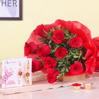 Bunch of 10 Red Roses and 2 Rakhis for Brother