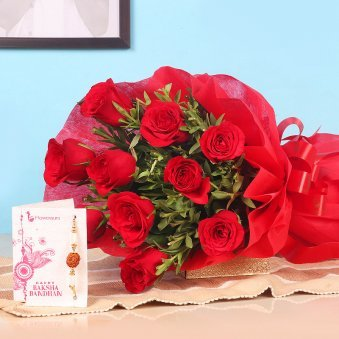 Bunch of 10 Red Roses and Rakhi for Brother