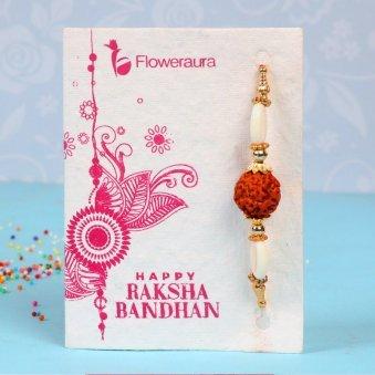 Rakhi Card in Rakhi With Flowers - Rudraksha Rakhi With Ten Roses