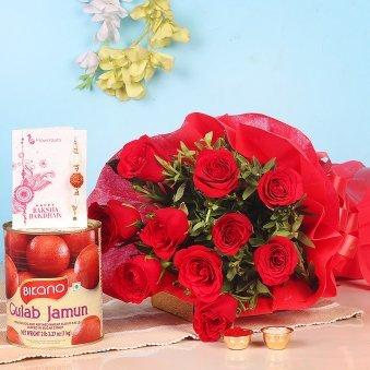 Rakhi With Flowers - Gulab Jamun Red Roses Rakhi Combo