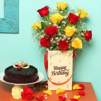 Roses Bunch in Birthday Flower Box with Chocolate Cake