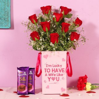 Red Rose Box With Chocolates For Wife