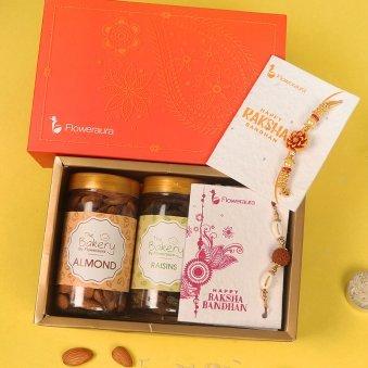 Rudraksha N Flower Rakhi Signature Box - Set of 2 Designer Rakhis with Roli and Chawal and 100gm Almonds and 100gm Raisins and One Floweraura Signature Box