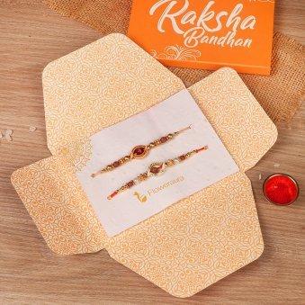 Rudraksha Rakhi Set - Rakhi Gifts for Brother Online