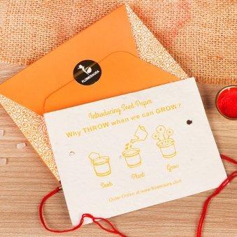 Rakhi Card in Rudraksha Rakhi Set - Rakhi Gifts for Brother Online