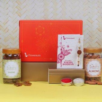 Rudraksha Rakhi Signature Box - One Rudraksh Rakhi with Roli and Chawal and 100gm Almonds and 100gm Raisins and One Floweraura Signature Box