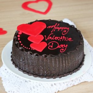 Choco truffle cake with 3 hearts for valentine