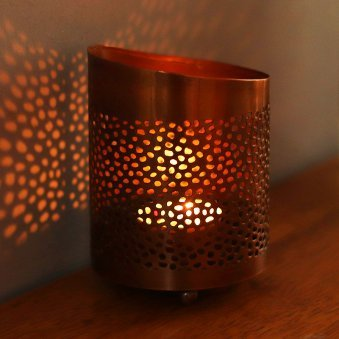 Shadow Candle Holder - Designer Copper Metal Votive Candle Holder