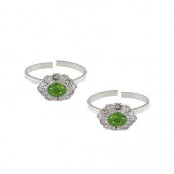 Silver Green Toe Rings