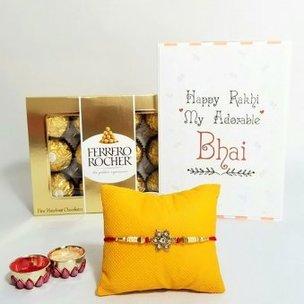 Special Bro Rakhi Hamper - Flower Stone Rakhi with Pack of 16 Ferrero Rochers and Roli Chawal
