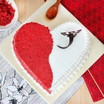 Spellbinding Red Velvet Heart Shaped Cake with Top View