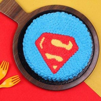 Top view of Superman Designer Birthday Cake