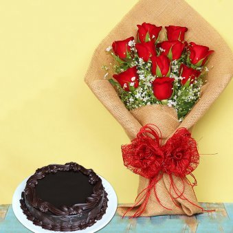 Sweet Red Pleasure Combo - Bunch of 10 Red Roses in Jute Wrapping with 500gm Chocolate Truffle Cake