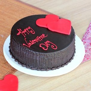 Choco truffle cake with 2 hearts for valentine