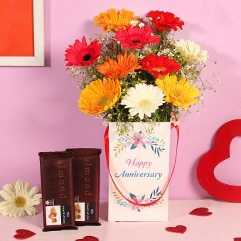 Gerbera Bouquet With Chocolate