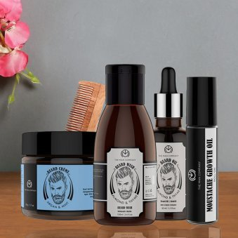 The Man Gift Combo - Beard Oil With Beard Wash and Moustache Growth Oil and Beard Creme and Comb