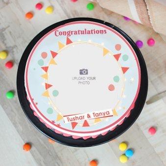 Congratulations Photo Cake - Top View