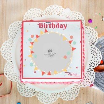 Birthday Photo Cake -Top View
