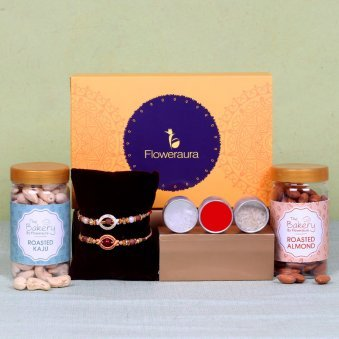 Two Rakhi Signature Box - Set of 2 Designer Rakhis with Complimentary Roli and Chawal and Cashews and Roasted Cashews and One Floweraura Signature Box