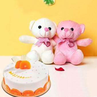 Two Sweet Tangy Combo - Two 6 Inch Teddies with 500gm Fruit Cake