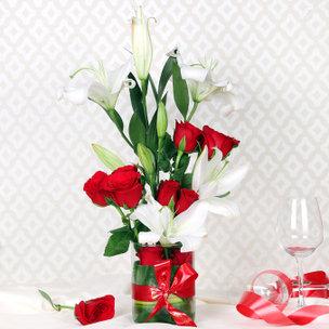 White Lily Red Rose Vase