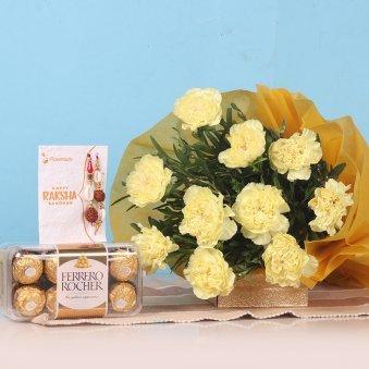 Yellow Carnation Rakhi Hamper