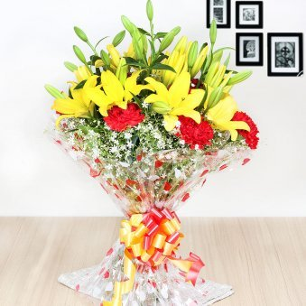 Bunch of Carnations and Lilies