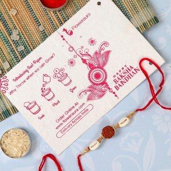 Rakhi Card in Yellow Rose Rakhi Combo