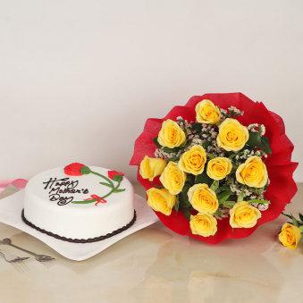 Yellow Roses N Cake Combo