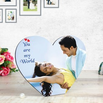 You Are My World - Personalised Heart Shape Table Top with Oblique View