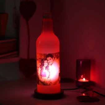 Bottle Lamp with Personalised Photo