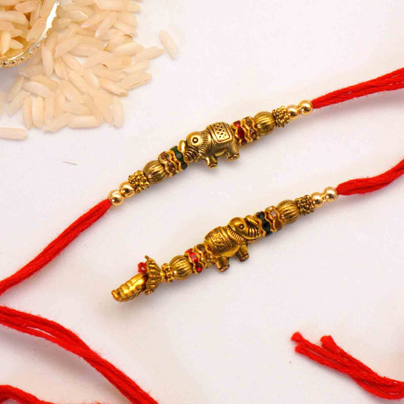 Stylish Red and Golden Rakhi For USA Online Delivery