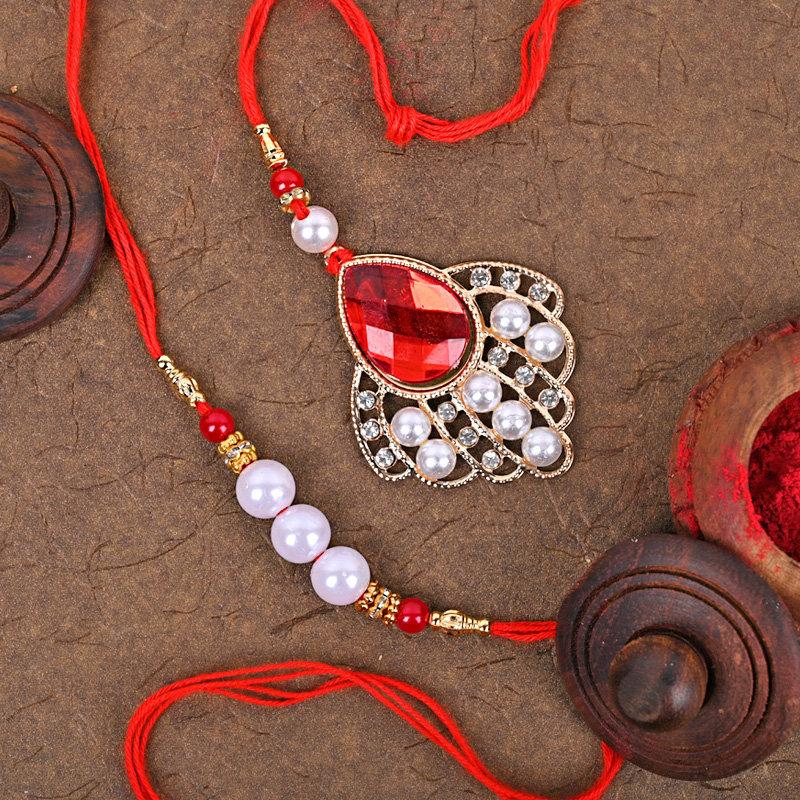One Bhaiya Bhabhi Rakhi - Stylish Red Designer Rakhi
