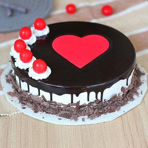 Happy Wedding Anniversary Cake with Heart and Cherries