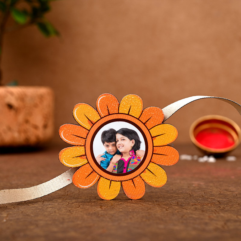 One Personalised Rakhi - Sunflower Custom Rakhi