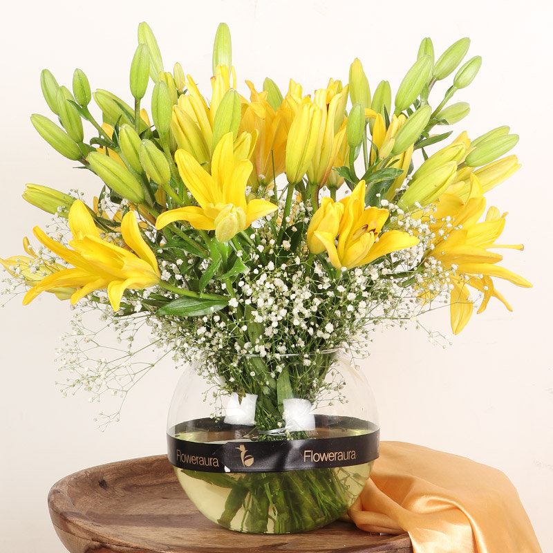 Sunkissed Lily Miss - Arrangement of 10 Yellow Lilies in Round Vase