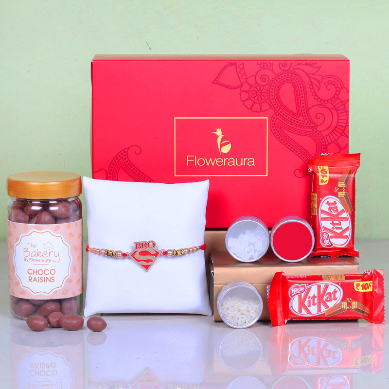 Super Choco Rakhi Hamper - One Designer Rakhi with Roli and Chawal and Choco Raisins and 2 Nestle Kitkats - 12gm each and One Floweraura Signature Box