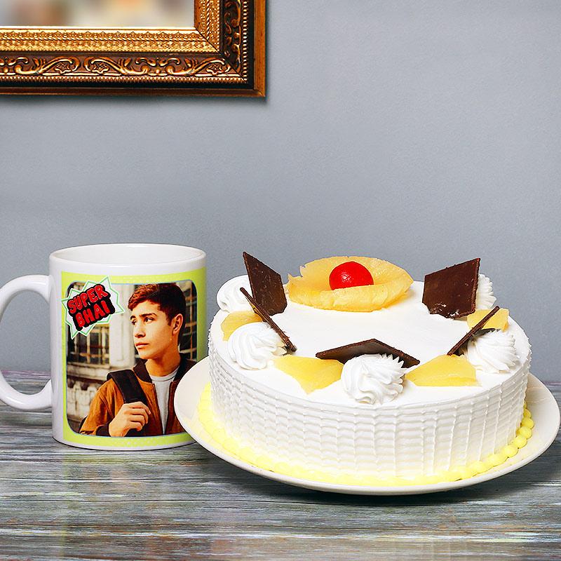 One Personalised beautiful Ceramic mugand 500gm Pineapple Cake
