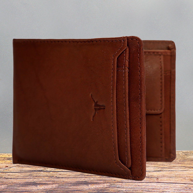 Light Brown Leather Wallet - 11.5X9.5 cm