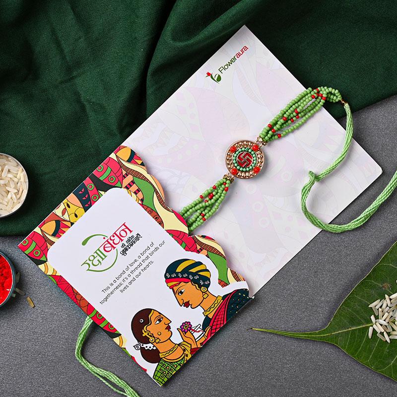 Swastika Beads Bliss Rakhi with card