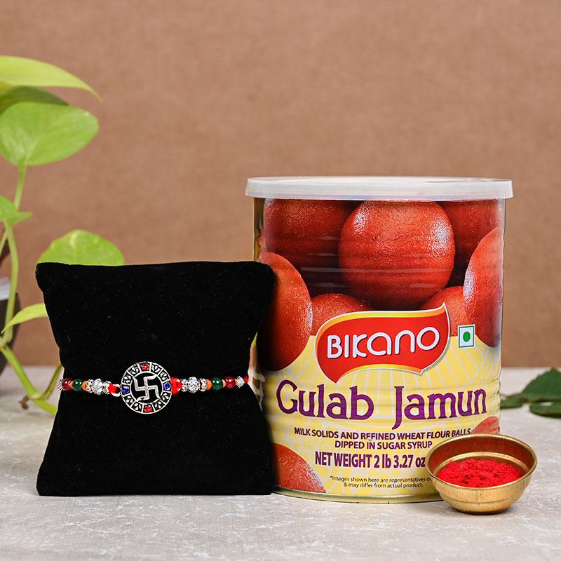 Product in Swastika Rakhi n Gulab Jamun